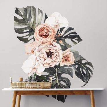 Adesivo murale - Acquerello Monstera Bouquet XXL