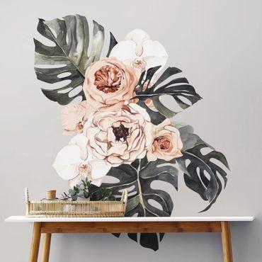 Adesivo murale - Acquerello Monstera Bouquet XXL