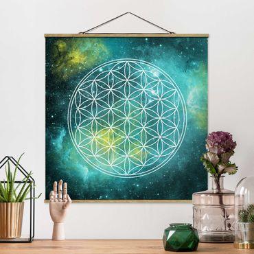 Foto su tessuto da parete con bastone - Fiore di vita nella luce delle stelle - Quadrato 1:1