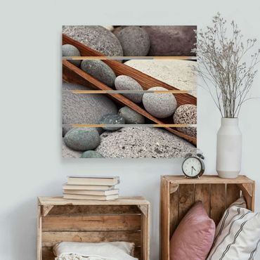 Stampa su legno - Ancora Vita Con Grey Stones - Quadrato 1:1