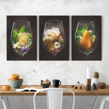 Stampa su tela 3 parti - Wine aromas in wine glass - Verticale 3:2