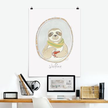 Poster - caffeina Sloth - Verticale 4:3