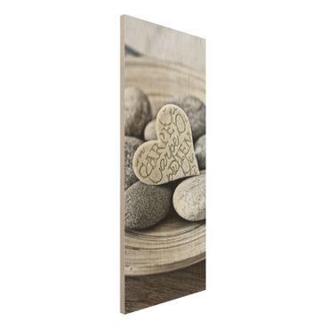 Stampa su legno - Carpe Diem di cuore con pietre - Pannello
