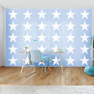 Tende scorrevoli set - Great White Stars On Blue