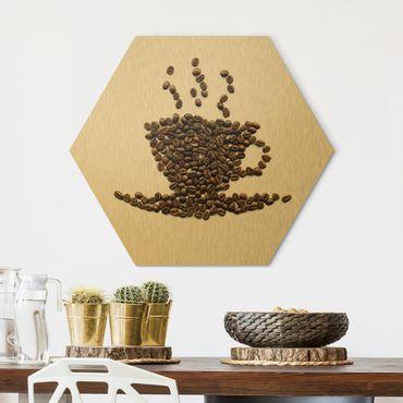 Esagono in Alu-dibond - Fagioli caffè fumante tazza di caffè