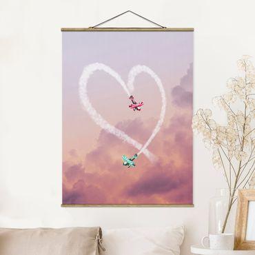 Foto su tessuto da parete con bastone - Cuore Con Aircraft - Verticale 4:3