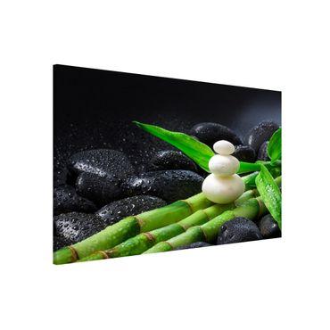 Lavagna magnetica - Pietre bianche su bambù - Formato orizzontale 3:2