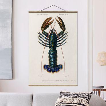 Foto su tessuto da parete con bastone - Vintage Blue Board Lobster - Verticale 3:2