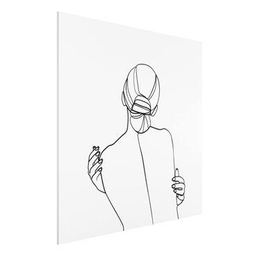 Stampa su Forex - Line Art Woman Back Bianco e nero - Quadrato 1:1