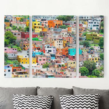 Stampa su tela 3 parti - Colored Houses Front Guanajuato - Trittico