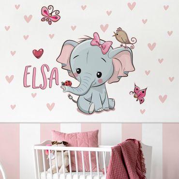 Adesivo murale bambini - Elefantina con nome personalizzato