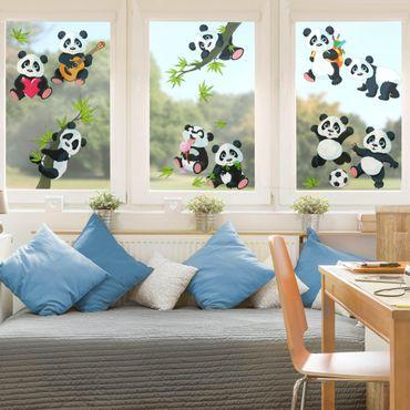 Adesivi per vetri bambini - Dolci orsetti panda in set grande - Stickers vetri cameretta