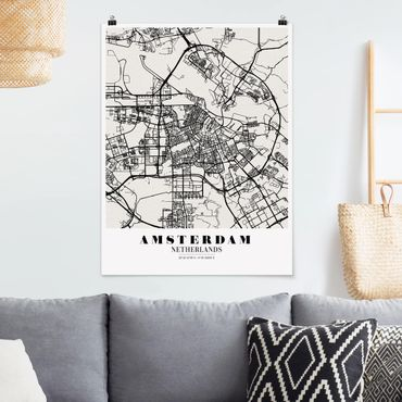 Poster - Mappa Amsterdam - Classic - Verticale 4:3