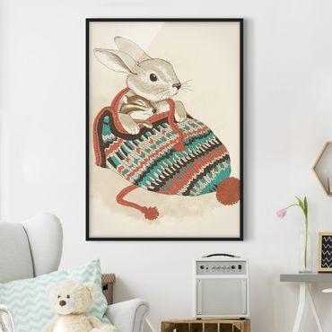 Poster con cornice - Illustrazione Cuddly Coniglio In Cappello - Verticale 4:3