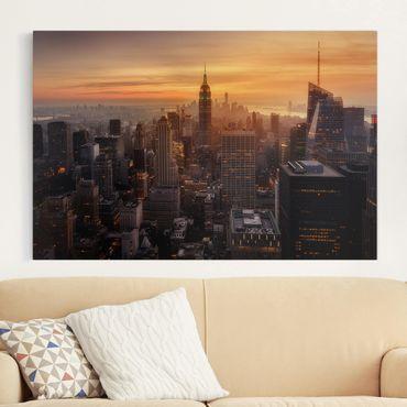 Stampa su tela - Manhattan Skyline Evening - Orizzontale 3:2