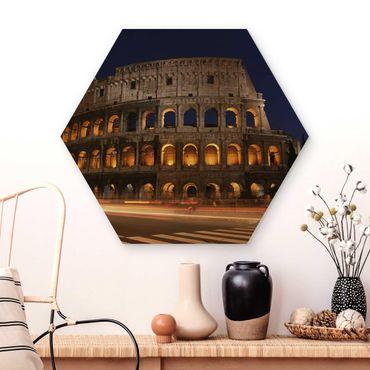 Esagono in legno - Colosseo a Roma di notte