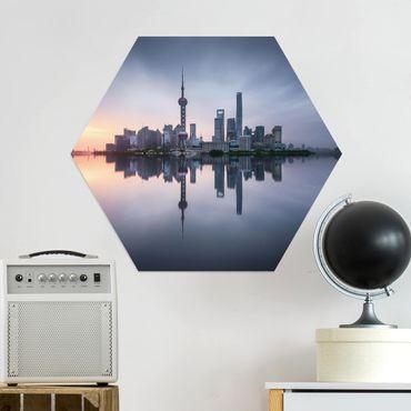 Esagono in Alu-dibond - Skyline di Shanghai Mattina Mood