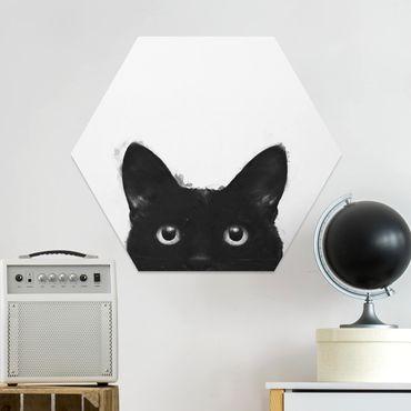 Esagono in forex - Illustrazione pittura Gatto nero su bianco