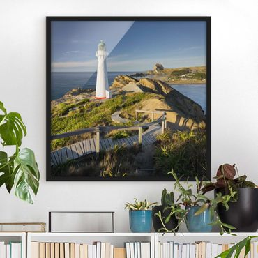 Poster con cornice - Castle Point Lighthouse New Zealand - Quadrato 1:1