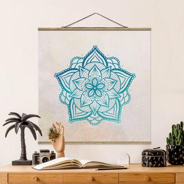 Foto su tessuto da parete con bastone - Mandala illustrazione Mandala oro blu - Quadrato 1:1