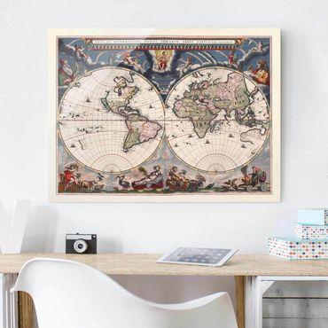 Quadro in vetro - Storico Mappa del mondo Nova et Accuratissima del 1664 - Orizzontale 3:4