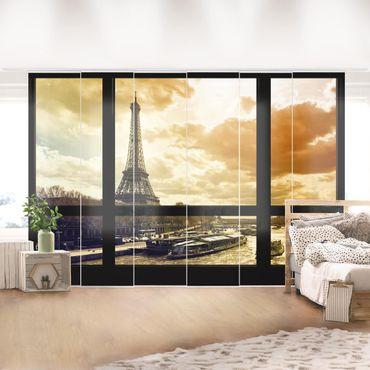 Tende scorrevoli set - Window View - Paris Eiffel Tower Sunset