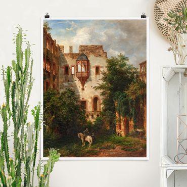 Poster - Carl Ludwig Fahrnbach - Nel cortile del castello di Heidelberg - Verticale 4:3