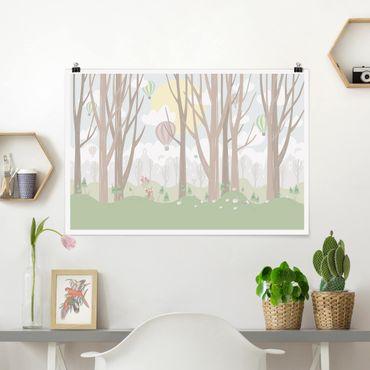 Poster - Sun con alberi e Mongolfiere - Orizzontale 2:3