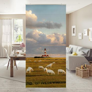 Tenda a pannello - North Sea lighthouse with sheep flock 250x120cm