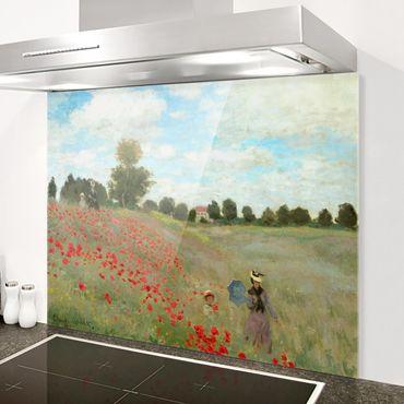 Spritzschutz Glas - Claude Monet - Mohnfeld bei Argenteuil - Querformat 3:4