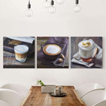 Stampa su tela 3 parti - Caffè Latte - Quadrato 1:1