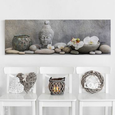 Stampa su tela - Zen Buddha con orchidee bianche - Panoramico