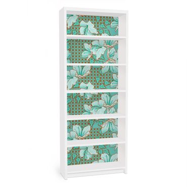 Carta adesiva per mobili IKEA - Billy Libreria - Oriental floral pattern
