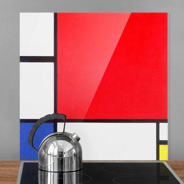 Spritzschutz Glas - Piet Mondrian - Komposition Rot Blau Gelb - Quadrat 1:1