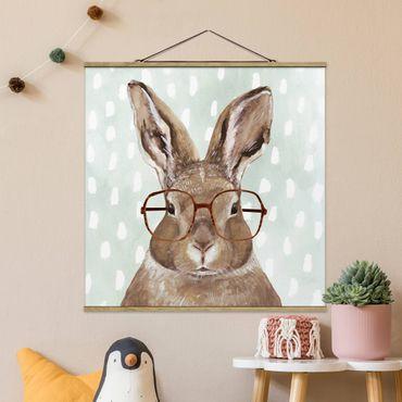 Foto su tessuto da parete con bastone - Animali Occhialuto - Coniglio - Quadrato 1:1