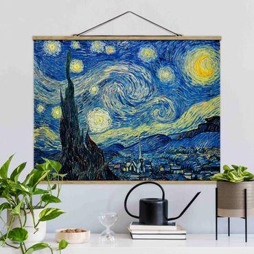 Foto su tessuto da parete con bastone - Vincent Van Gogh - Notte stellata - Orizzontale 3:4