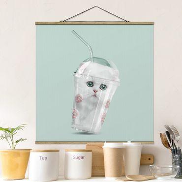 Foto su tessuto da parete con bastone - Agitare Con Gatto - Quadrato 1:1