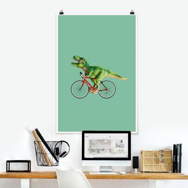 Poster - Jonas Loose - Dinosauro con la bicicletta - Verticale 3:2