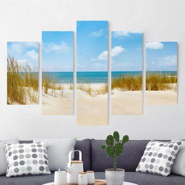 Stampa su tela 5 parti - Beach on the North Sea