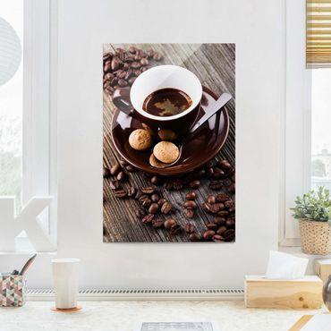 Quadro in vetro - Fagioli della tazza di caffè con il caffè - Verticale 3:2
