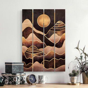 Stampa su legno - Elisabeth Fredriksson - Golden Sun astratti Monti - Verticale 3:2