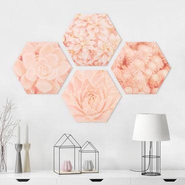 Esagono in Alu-dibond - Flower Magic rosa