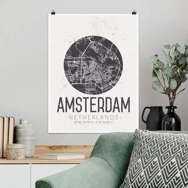Poster - Mappa Amsterdam - Retro - Verticale 4:3