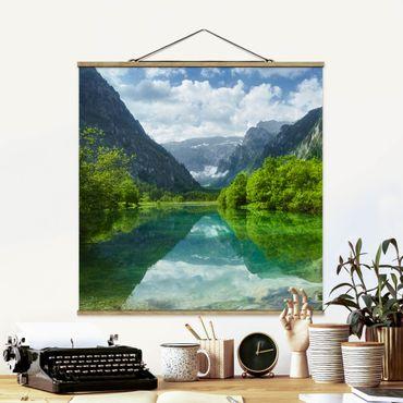 Foto su tessuto da parete con bastone - Mountain Lake con mirroring - Quadrato 1:1