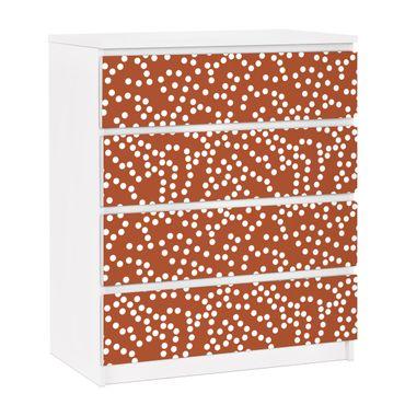 Carta adesiva per mobili IKEA - Malm Cassettiera 4xCassetti - Aboriginal dot pattern Brown