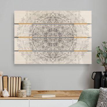 Stampa su legno - Mandala Acquerello Ornament Pattern Bianco e nero - Orizzontale 2:3