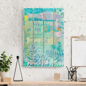 Stampa su legno - Colorato collage - Pesci E Punti - Verticale 3:2