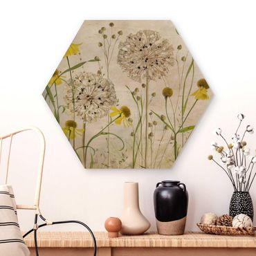 Esagono in legno - Allium E Helenium Illustrazione