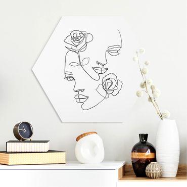 Esagono in forex - Line Art Faces donne Roses Bianco e nero