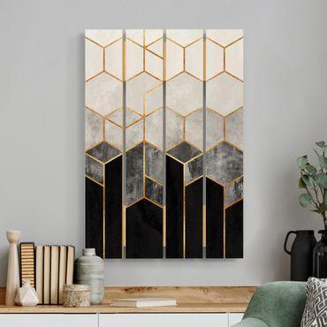 Stampa su legno - Elisabeth Fredriksson - Oro esagono Bianco e nero - Verticale 3:2